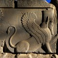 A relief sculpture of a sphinx on a balustrade of the Tripylon (Triple Gate), also known as the Central Palace or Council Hall in Persepolis