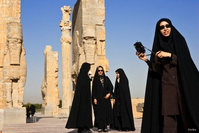 Iran, Fars Province, Persepolis, listed as World Heritage by UNESCO, the Gate of all nations through which entered the delegations, bull androcephale winged, tourists groups - SURFIRAN