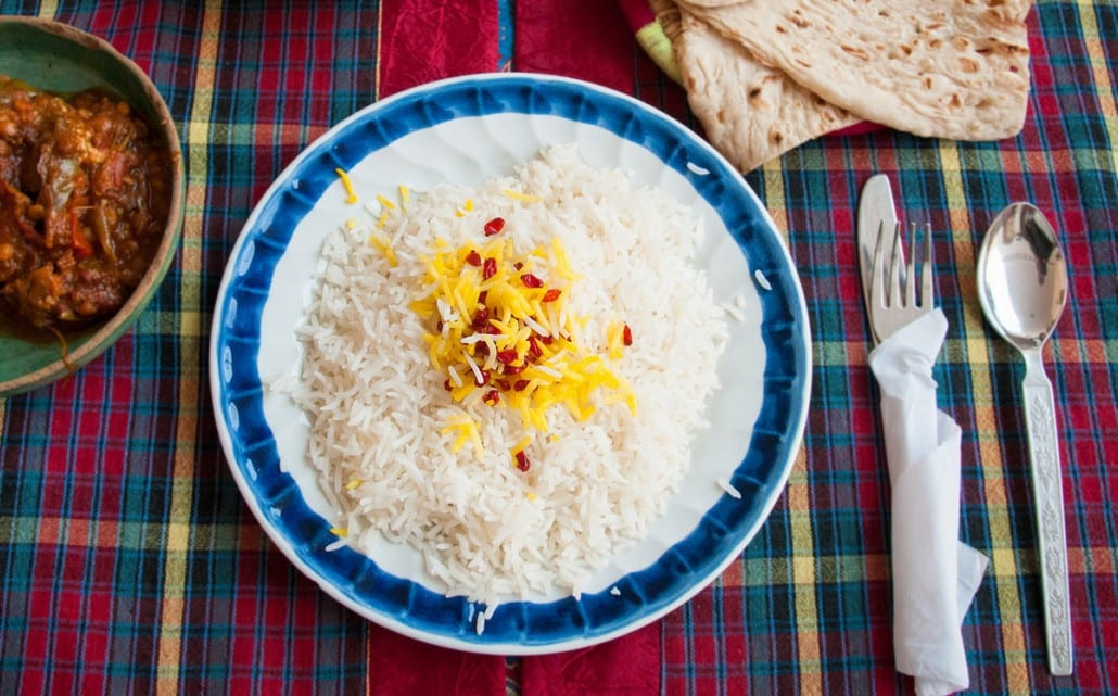 This rice, an essential part of Iranian cuisine, is served with kebabs and a variety of Iranian stew-like dishes (khoresh)