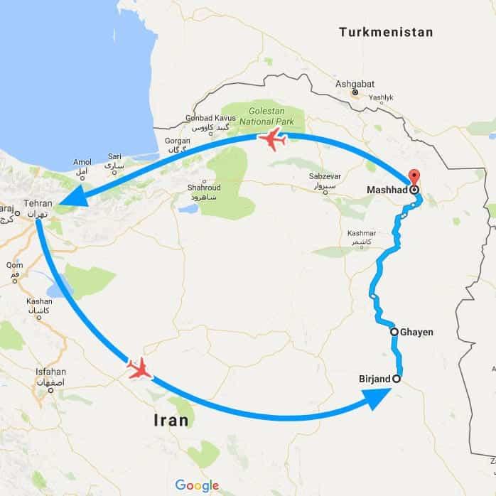 IranSaffron&BarberryTour Map