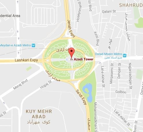 Azadi Tower Map