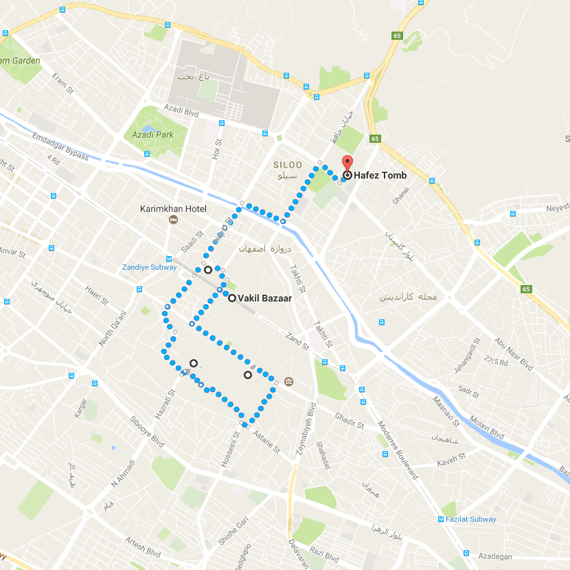 Shiraz Day Tour – Map