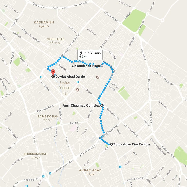 YazdDayTour Map