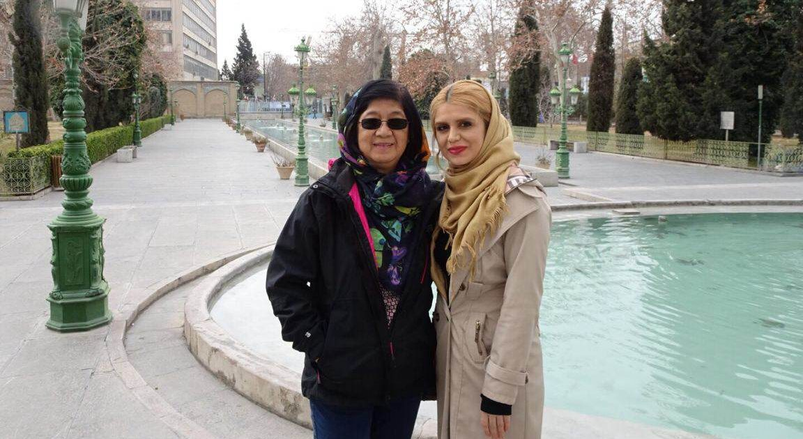 Irene, our Singaporean guest and Sarah at the Golestan Palace, Tehran
