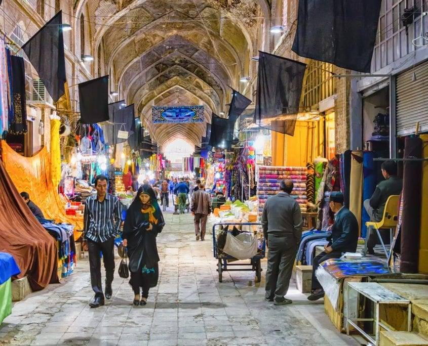 Traditional iranian bazaar in Shiraz. It is a historical market and one of the oldest and largest bazaars of the Middle East.