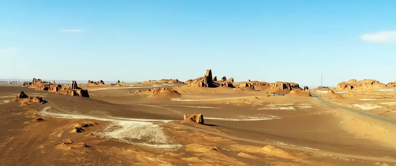 Yardangs or Kaluts in Lut Desert, Kerman Province, Iran.