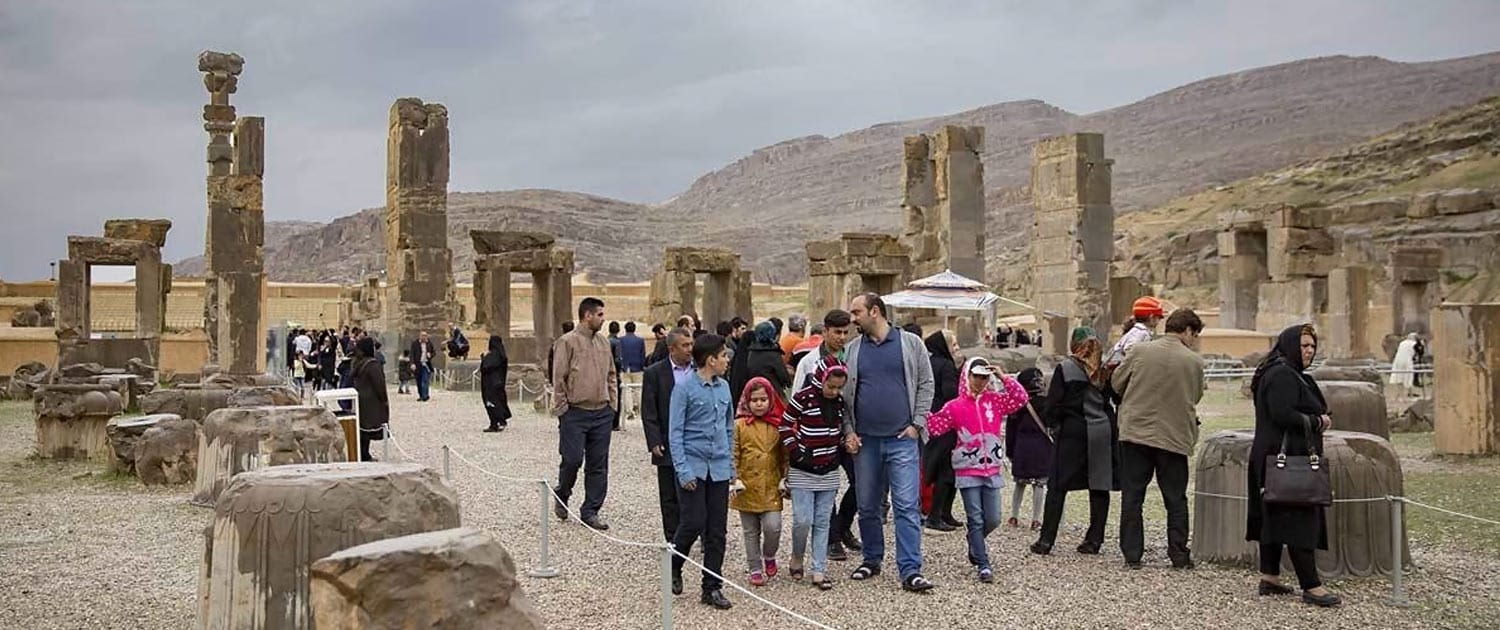 Tourists visiting Persepolis on the Nowruz