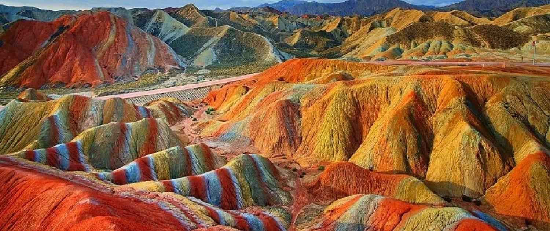 Rainbow Mountains in Mahneshan, Iran.