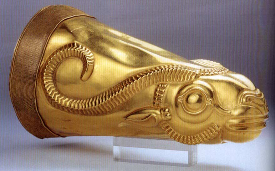 Golden rhyton (drinking vessel) from Iran's Achaemenid period, excavated at Ecbatana. Kept at the National Museum of Iran.